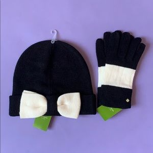 Kate Spade Color Block Beanie and Gloves Set